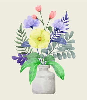 Conjunto de flores em aquarela.