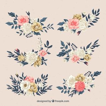 Conjunto de flores em estilo plano