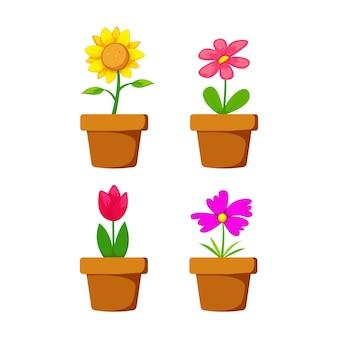 Conjunto de flores em pote de desenho animado com girassol e margarida