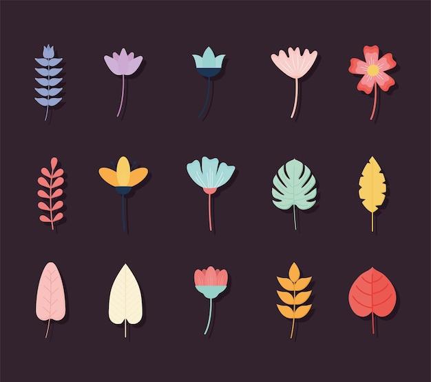Conjunto de flores em um fundo escuro