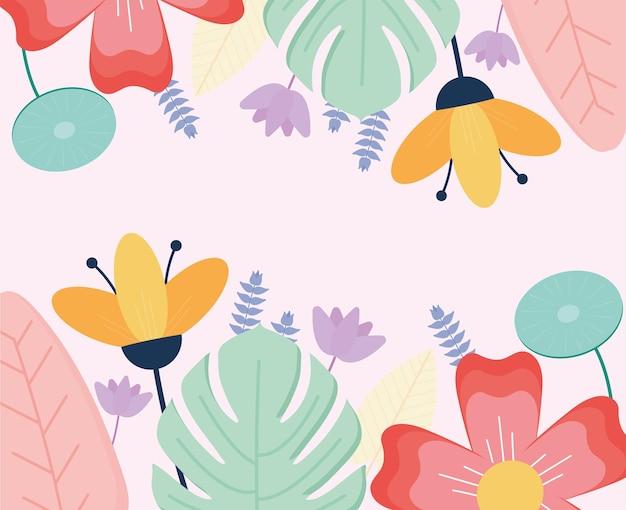 Conjunto de flores em um fundo rosa
