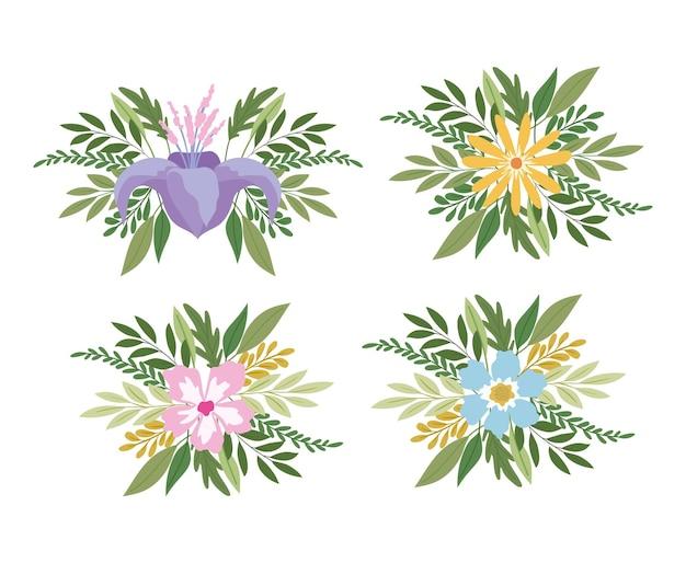 Conjunto de flores em um projeto de ilustração de fundo branco