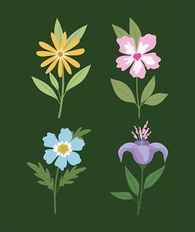 Conjunto de flores em um projeto de ilustração de fundo verde