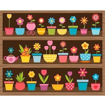 Conjunto de flores em vasos na prateleira de madeira