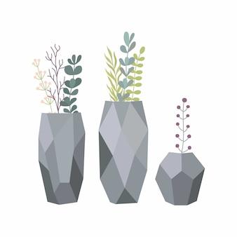 Conjunto de flores em vasos. vaso estiloso com plantas