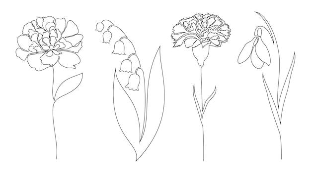 Conjunto de flores. estilo de desenho de uma linha.
