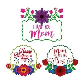Conjunto de flores etiqueta decoração dia das mães