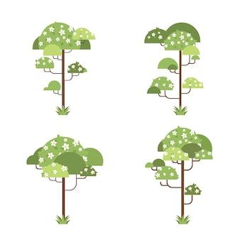 Conjunto de flores florais, árvores, verdes, botânicas, plantas, vegetais, coleção floral, ilustração