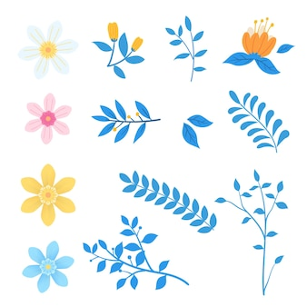 Conjunto de flores florais desabrochando