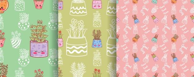 Conjunto de flores fofas padrão sem emenda com vasos decorados