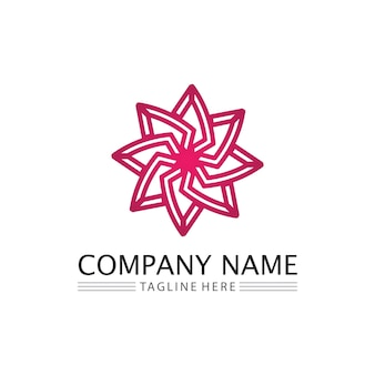Conjunto de flores logotipo e design para ícone de jardim de design de negócios natureza e flor de beleza