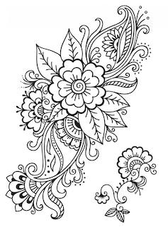 Conjunto de flores mehndi. decoração em estilo étnico oriental, indiano. doodle ornamento. mão de contorno desenhar ilustração.