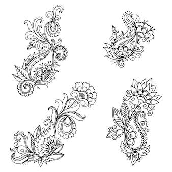Conjunto de flores mehndi. decoração em estilo étnico oriental, indiano. ornamento do doodle. esboço mão desenhar ilustração.