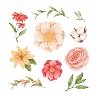 Conjunto de flores pintadas à mão com aquarela