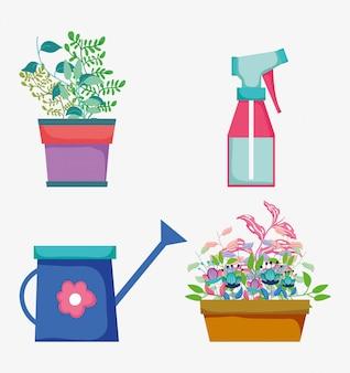 Conjunto de flores plantas com folhas e regador