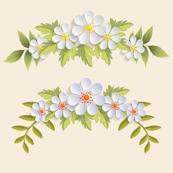 Conjunto de flores realistas com folhas