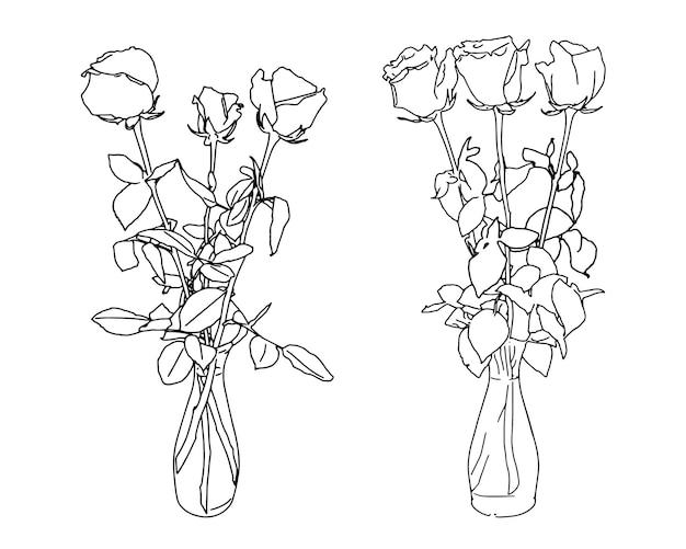Conjunto de flores rosas em um doodle de esboço linear de vaso