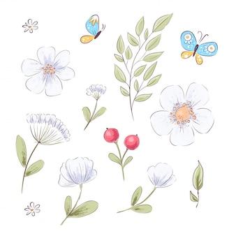 Conjunto de flores silvestres e borboletas. desenho à mão.