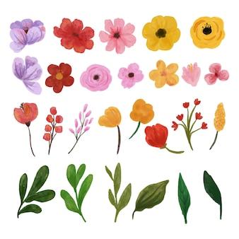 Conjunto de flores silvestres em aquarela isolado no branco