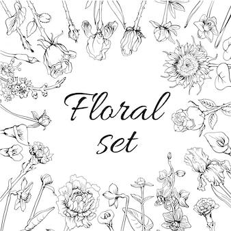 Conjunto de flores vintage monocromáticas