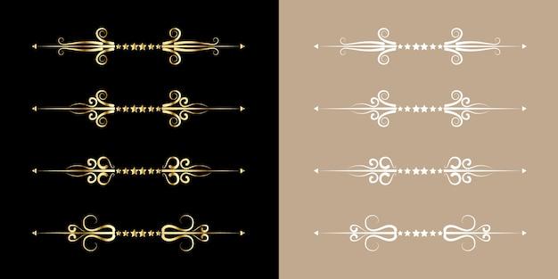 Conjunto de florescer estilo vintage ornamento dourado fronteira de ouro arte decoração elegante para título e texto da linha de livro