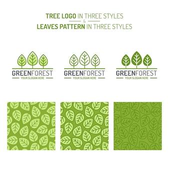 Conjunto de floresta verde consistindo no logotipo da árvore