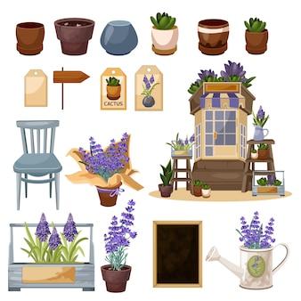 Conjunto de floricultura em aquarela digital