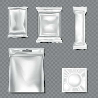 Conjunto de flow pack em fundo transparente