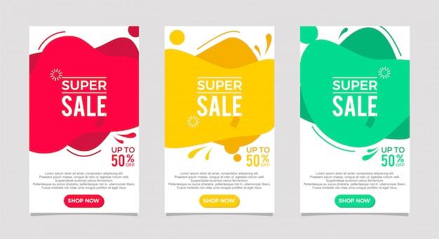 Conjunto de fluido moderno dinâmico para banners de venda. modelo de banner de venda, oferta especial de super venda