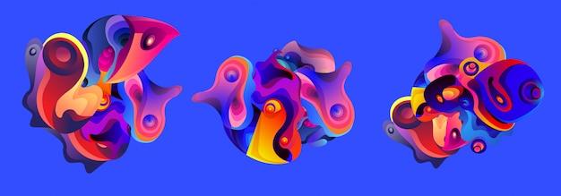 Conjunto de fluidos líquido abstrato forma iilustration