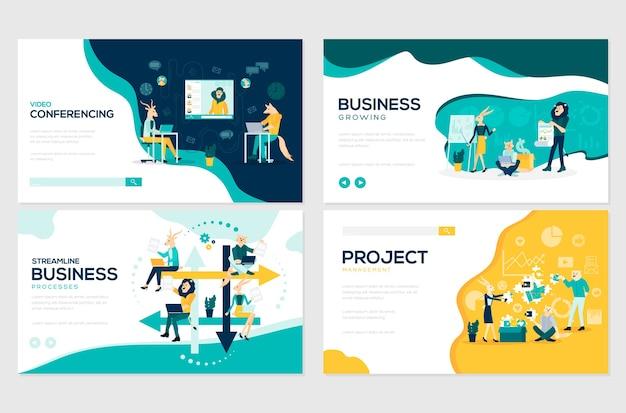 Conjunto de fluxo de trabalho do projeto, comunicação empresarial e gerenciamento de consultoria.