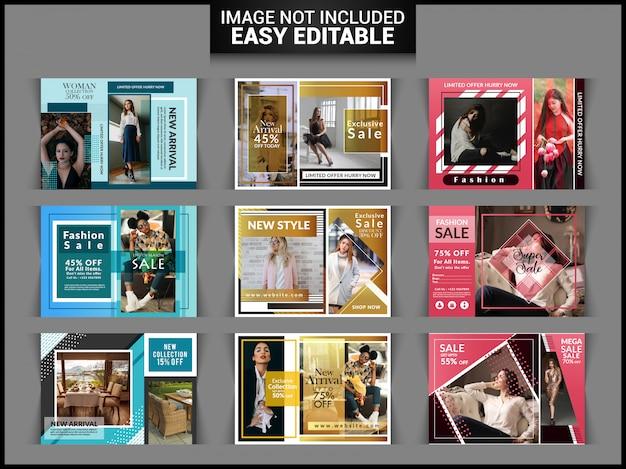Conjunto de flyer horizontal de venda de moda