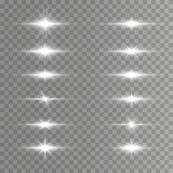 Conjunto de focos de lente horizontais brancos, feixes de laser