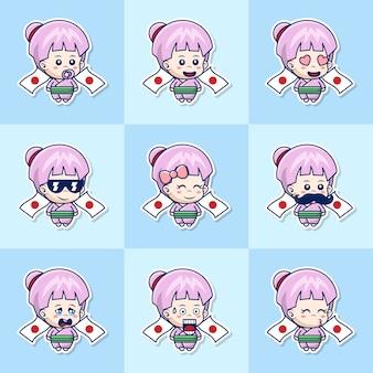 Conjunto de fofas meninas japonesas com expressões diferentes