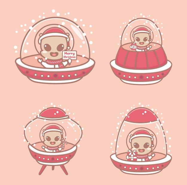 Conjunto de fofos alienígenas de natal com naves espaciais e flocos de neve. ilustrações dos desenhos animados.