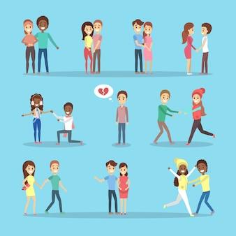 Conjunto de fofos casais românticos apaixonados. pessoas felizes se abraçam. homem solitário com o coração partido.