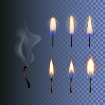 Conjunto de fogo chama de vela realista e pavio queimado