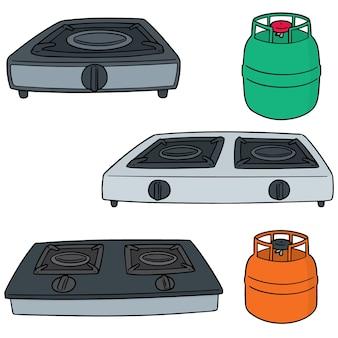 Conjunto de fogões a gás
