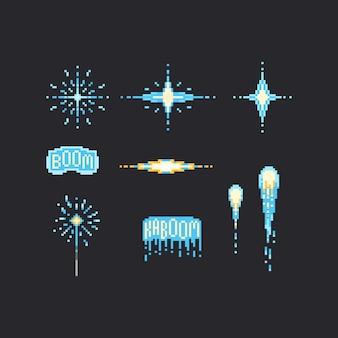 Conjunto de fogos de artifício azul de pixel
