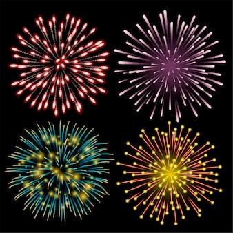 Conjunto de fogos de artifício coloridos.