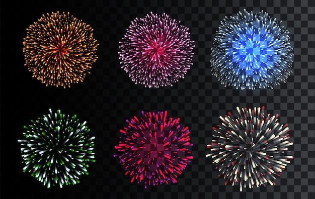 Conjunto de fogos de artifício isolados
