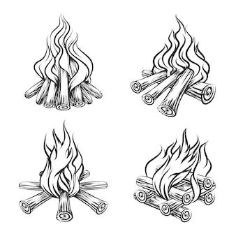 Conjunto de fogueira desenhada à mão