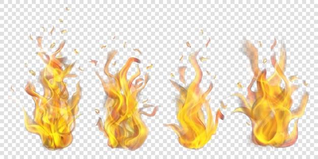 Conjunto de fogueiras a arder translúcidas em fundo transparente. para uso em cenários leves. transparência apenas em formato vetorial