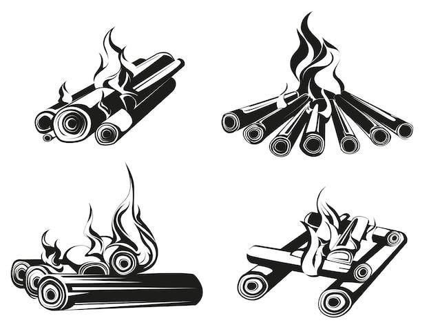Conjunto de fogueiras em estilo monocromático. toras de madeira em chamas.