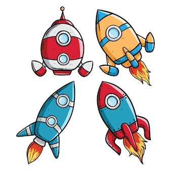 Conjunto de foguete bonito ou nave espacial no fundo branco