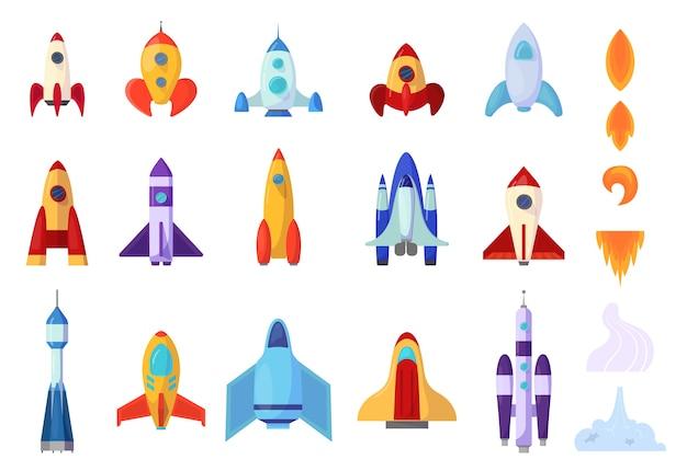 Conjunto de foguetes. coleção de nave espacial e chama.
