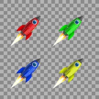 Conjunto de foguetes coloridos em um fundo transparente