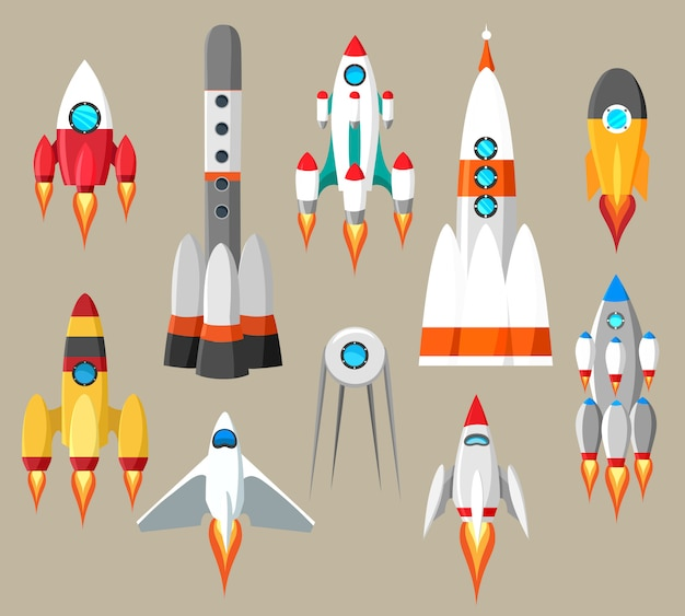 Conjunto de foguetes dos desenhos animados