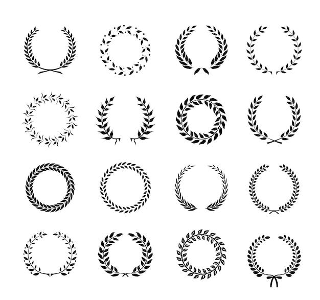 Conjunto de folha de louro circular silhueta em preto e branco e grinaldas de trigo representando uma conquista de prêmio