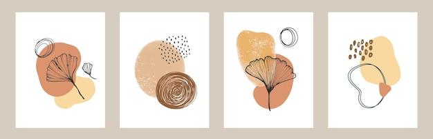 Conjunto de folhagens florais vetoriais linha arte esboço Vetor Premium